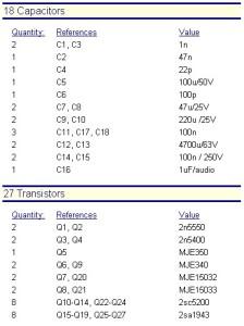 TFA-150 - Condensatori e transistors