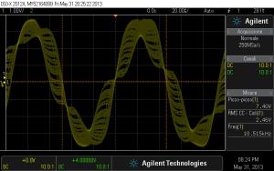 Fig. 1.2 - Segnale sinusoidale a 10 kHz. Modifica Non Oversampling.