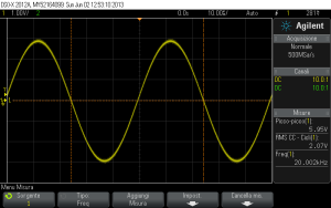 Fig. 4.3 - Segnale sinusoidale a 20 kHz, dopo il ripristino.